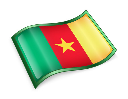 cameroonian: Cameroon flag icon, isolated on white background