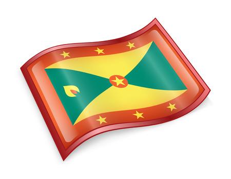 grenada: Grenada flag icon, isolated on white