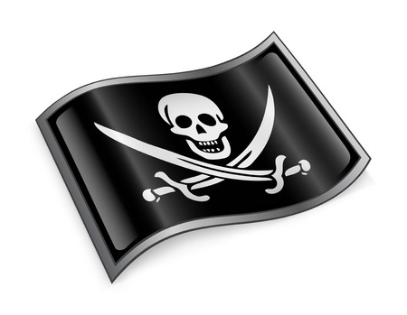 roger: pirate flag icon, isolated on white