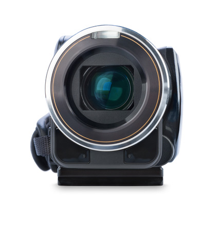 home video camera: Digital video camera isolated on white  Stock Photo