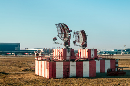 Radar in airport and air traffic control photo