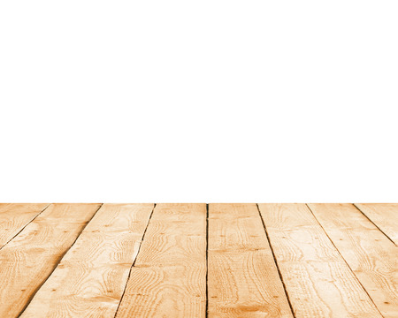 treated board: Empty white wall and wooden floor Stock Photo