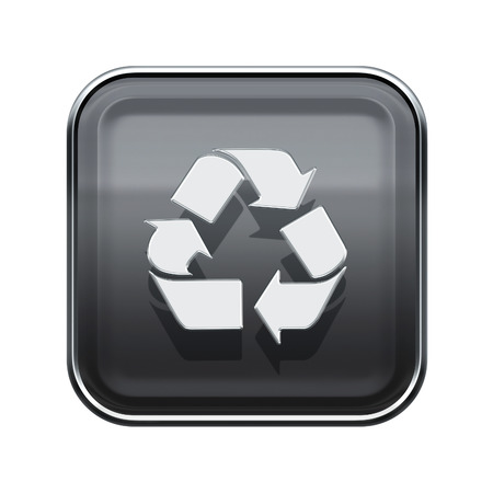 wastes: Recycling symbol glossy icon grey, isolated on white background Stock Photo