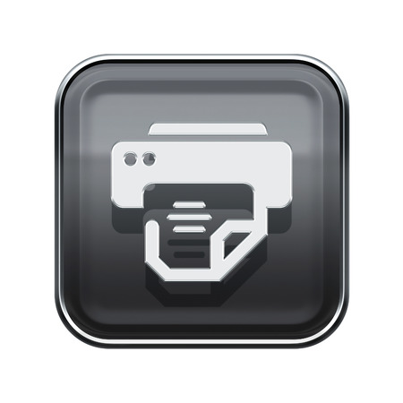 printing icon: Printer icon glossy grey, isolated on white background Stock Photo