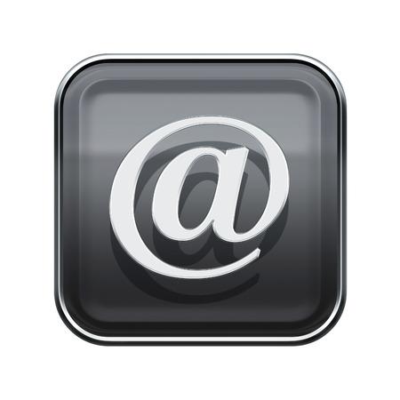 Email @ symbol icon glossy grey, isolated on white background photo