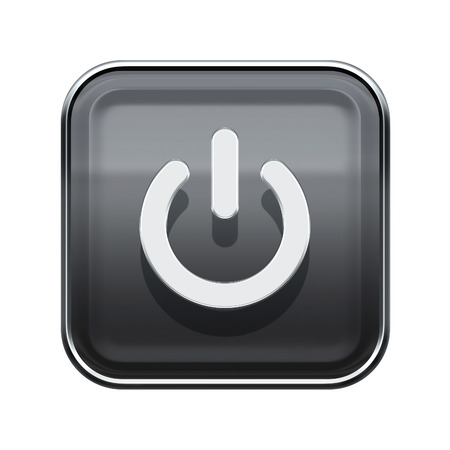 Power button icon glossy grey, isolated on white background photo