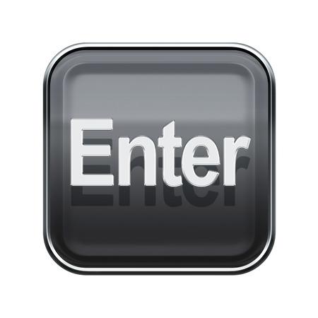 Enter icon glossy grey, isolated on white background photo