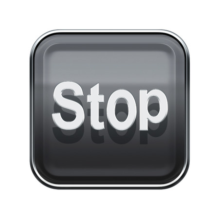 Stop icon glossy grey, isolated on white background photo