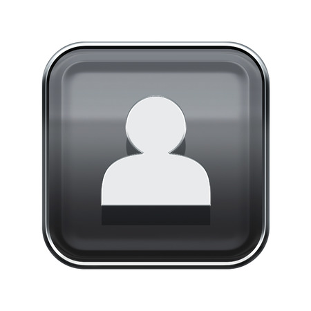 socialize: User icon glossy grey, isolated on white background