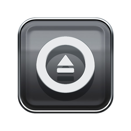 eject: Eject icon glossy grey, isolated on white background Stock Photo