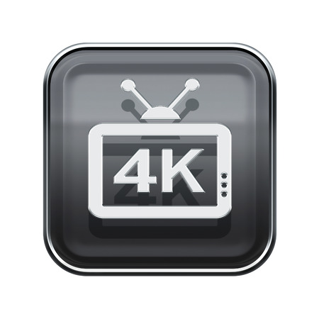 programm: 4K icon glossy grey, isolated on white background