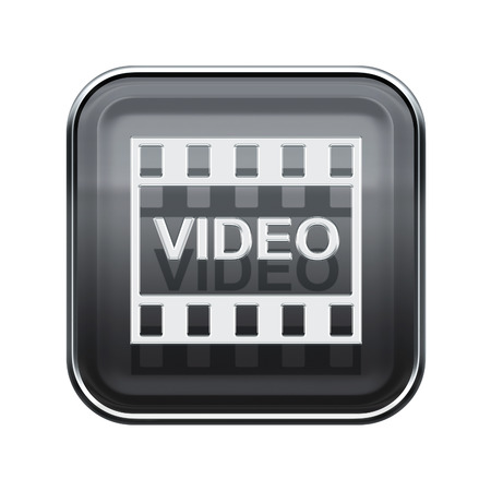 Video icon glossy grey, isolated on white background photo