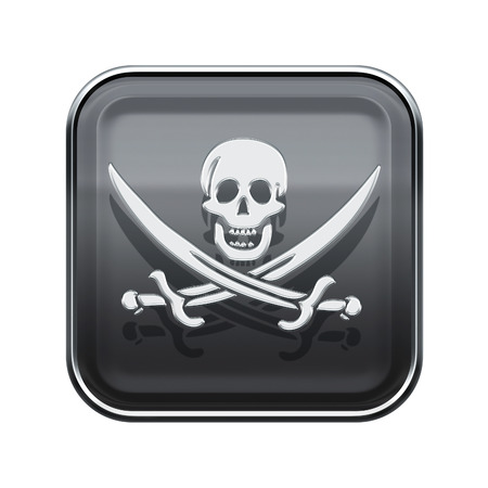 Pirate icon glossy grey, isolated on white backround