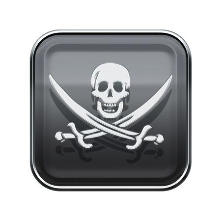 warez: Pirate icon glossy grey, isolated on white backround