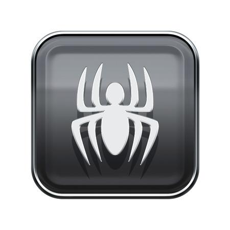 virus icon: Virus icon glossy grey, isolated on white background
