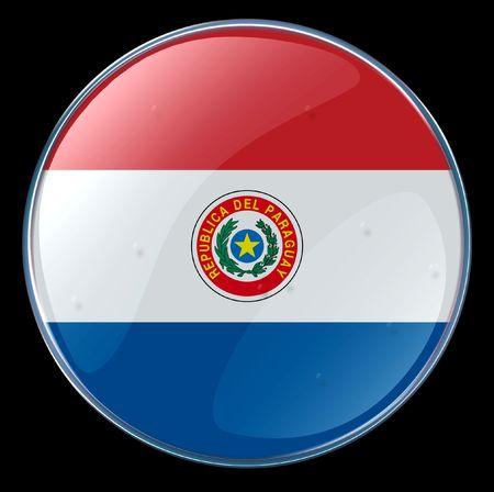 bandera de paraguay: Bot�n Bandera Paraguay. (Con Clipping Camino)