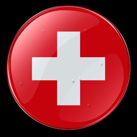 zwitserland vlag: Zwitserland Vlag knop. (Met Clipping Path)
