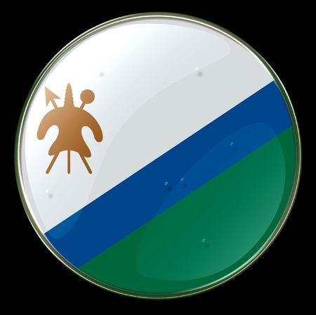 lesotho: Lesotho Flag Button. (With Clipping Path)