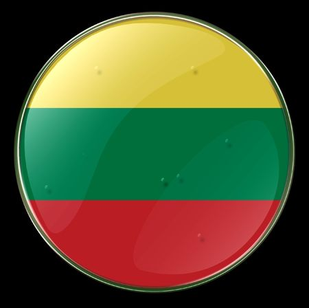 lithuania flag: Lithuania Flag Button. (With Clipping Path)