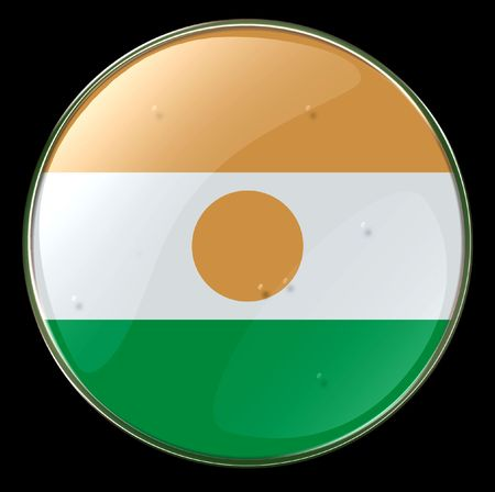 niger: Niger Flag Button. (With Clipping Path)