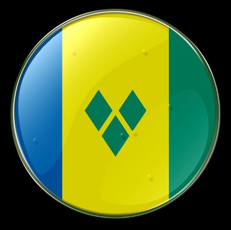 grenadines: Saint Vincent Grenadines Flag Button. (With Clipping Path)