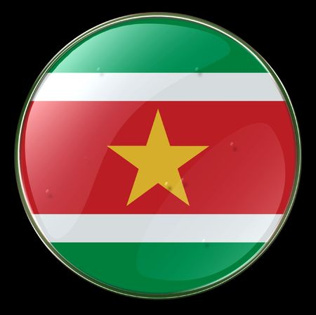 suriname: Suriname Flag Button. (With Clipping Path)