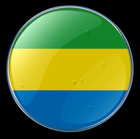 gabon: Gabon Flag Button. (With Clipping Path)