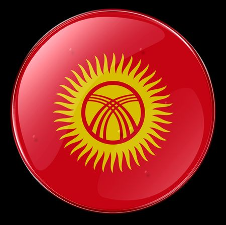 kyrgyzstan: Kyrgyzstan Flag Button.  Stock Photo