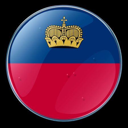 liechtenstein: Liechtenstein Flag Button.  Stock Photo