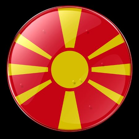 former yugoslavia: Macedonia Flag Button. (With Clipping Path)