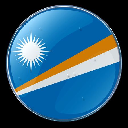 marshall: Marshall Islands Flag Button. (With Clipping Path)
