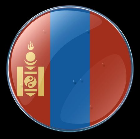 mongolia: Mongolia Flag Button. (With Clipping Path)
