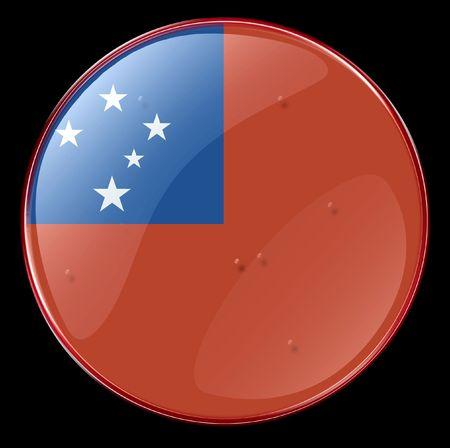 samoa: Samoa Flag Button. (With Clipping Path)