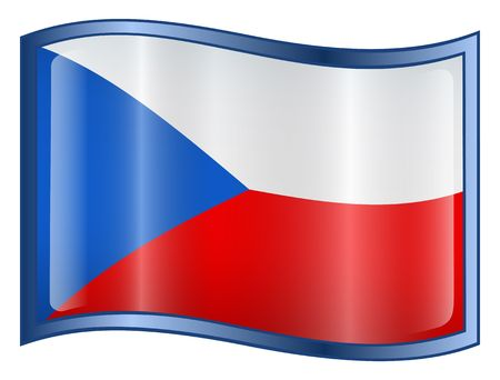 czech: Czech Flag icon. (With Clipping Path) Stock Photo