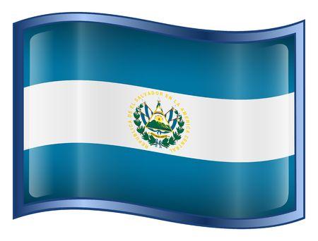 el salvador flag: El Salvador Flag Button. (With Clipping Path) Stock Photo