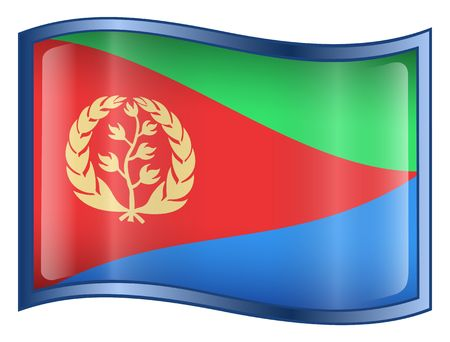 eritrea: Eritrea Flag icon. (With Clipping Path)