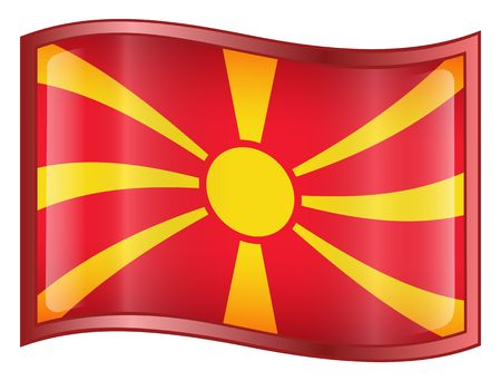 macedonia: Macedonia Flag icon. (With Clipping Path)