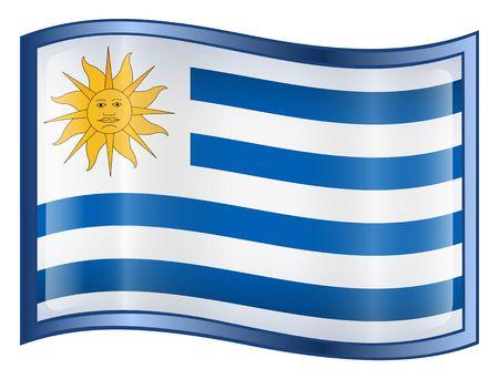 bandera de uruguay: Uruguay Bandera icono. (Con Clipping Path)