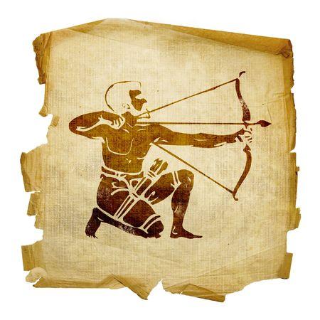 capricornio: Sagitario zodiac icono, aislados en fondo blanco.
