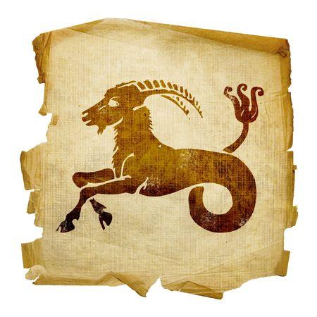 aries: Capricornio zodiac icono, aislados en fondo blanco.  Foto de archivo