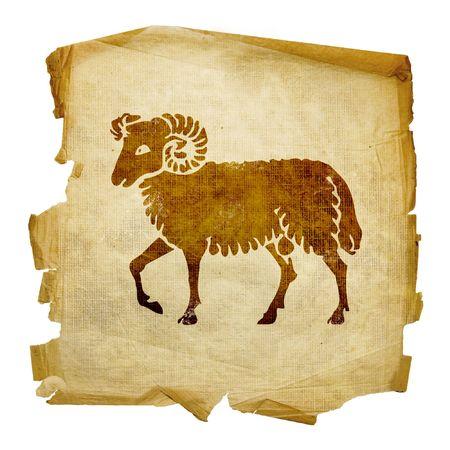 aries: Ariete zodiaco icona, isolato su sfondo bianco. Archivio Fotografico