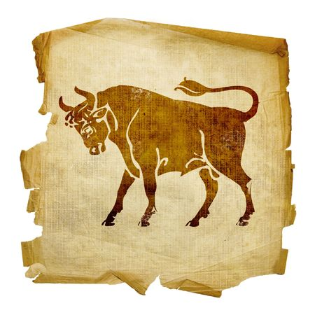 12 month old: Toro zodiaco icona, isolati su sfondo bianco.