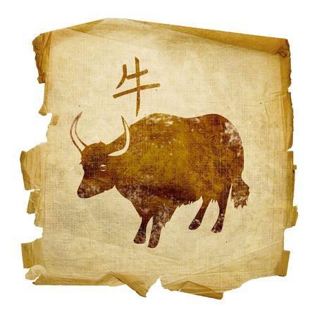 buey: Zodiac Ox icono, aislados en fondo blanco.