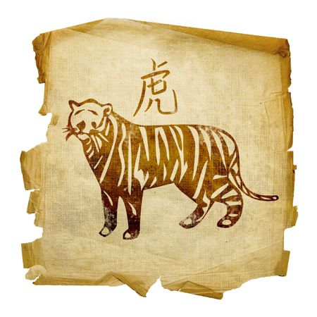 year of the tiger: Tiger Zodiac icon, isolated on white background.