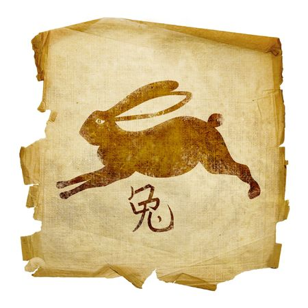 brown hare: Rabbit Zodiac icon, isolated on white background. Stock Photo