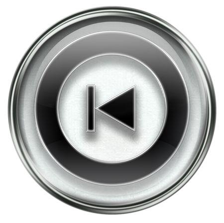rewind: Rewind Back icon grey, isolated on white background. Stock Photo