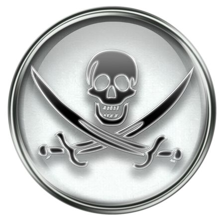 roger: Pirate icon grey, isolated on white background. Stock Photo