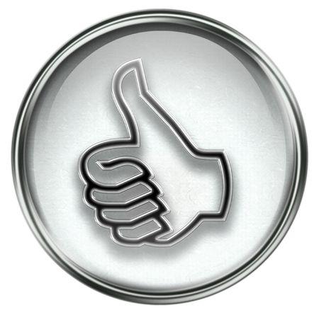 buen trato: pulgar hasta el icono gris, aprobaci�n gesto de la mano, aislados sobre fondo blanco.