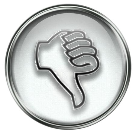 ineffective: thumb down icon grey, isolated on white background.