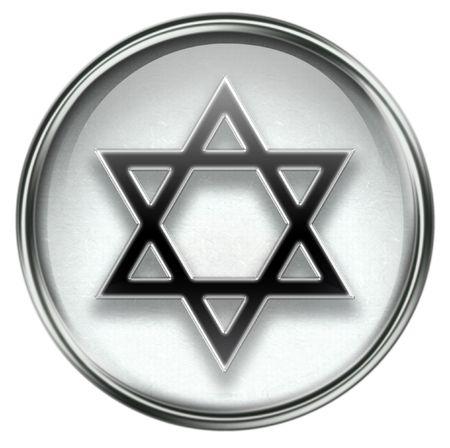 judaic: David star icon grey, isolated on white background.